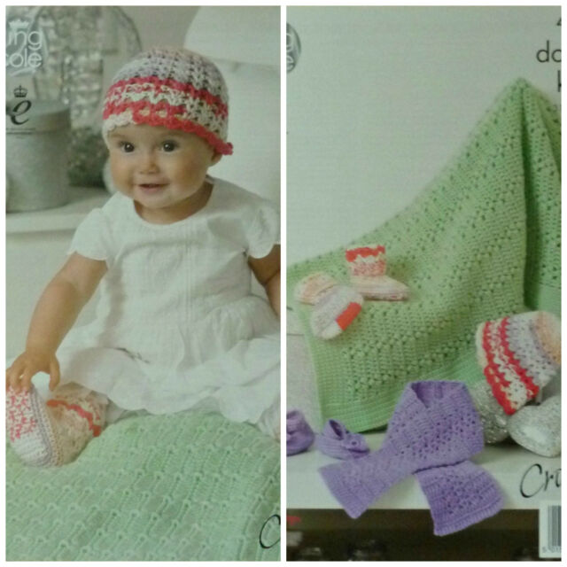 8bb125a16 Crochet Pattern Baby Scarf Shoes Socks Hat and Blanket DK King Cole ...