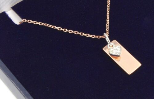 Gift Box Mothers Day Rose Gold Plate 925 Silver /& CZ Drop Necklace /& Engraving