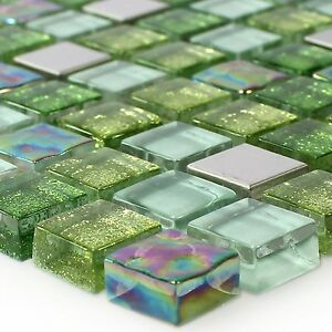 muster glas edelstahl mosaik fliesen gr n mix ebay. Black Bedroom Furniture Sets. Home Design Ideas