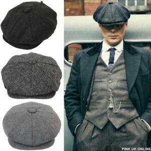 a408a236 NEW Mens Peaky Blinders Newsboy Flat Cap Herringbone Gatsby 8 panel ...