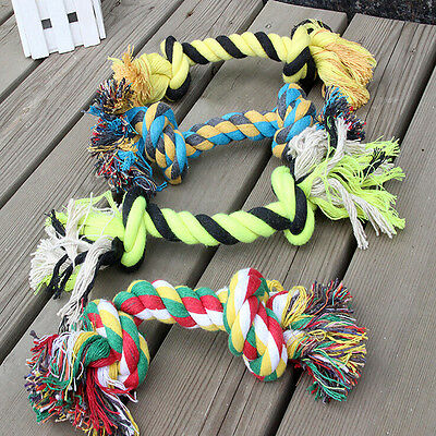 1 x Fun Pet Chew Knot Toy Cotton Braided Bone Rope Color Puppy Dog