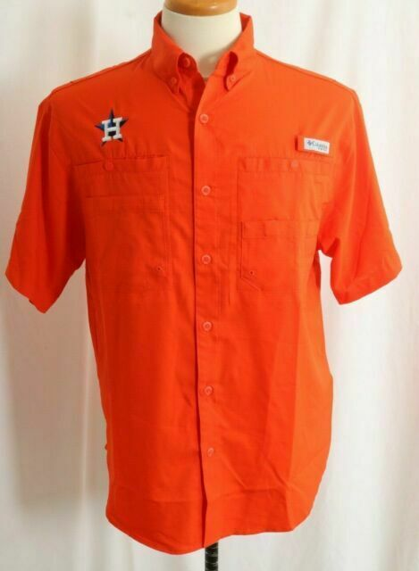 New Houston Astros Embroidered Columbia PFG Tamiami Omni-Shade Shirt Men M
