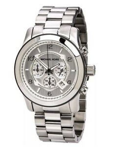 4f17a6c26990 Image is loading MICHAEL-KORS-MK8086-Oversized-Runway-Silver-Tone- Chronograph-