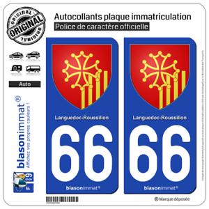 2 Blason Plaque Immatriculation Auto | 66 Languedoc-roussillon - Armoiries