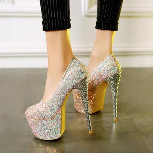 Womens 16 CM Stilettos High Heel Sequins Platform Shoes Pumps Nightclubs Plus SZ