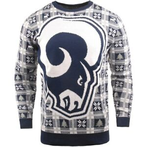 sports shoes 9979c 2e157 Details zu NFL UGLY Sweater Los Angeles L.A. Rams Pullover Christmas Big  Logo Football 18