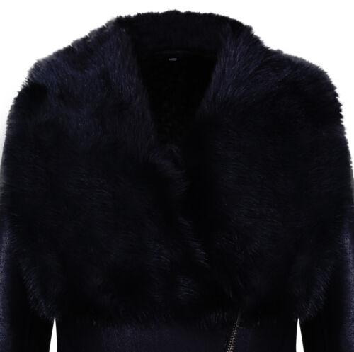 Peau Mouton De Noir Manteau Avec Daim Merino Col Femmes Toscana HxBtFq77