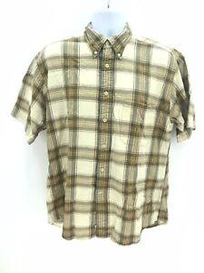 Pendelton Seaside Short Sleeve 100% Cotton Button Up Casual Plaid Shirt Mens Lg