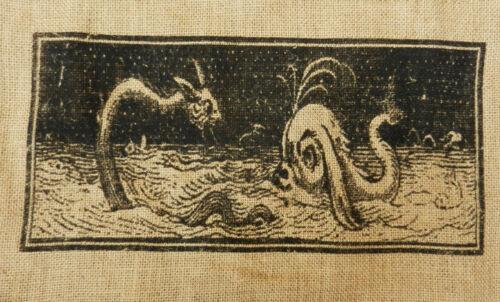 Jute Shoulder Bag Sea Serpent Design BNWT Dragon Tote Bag //School Bag