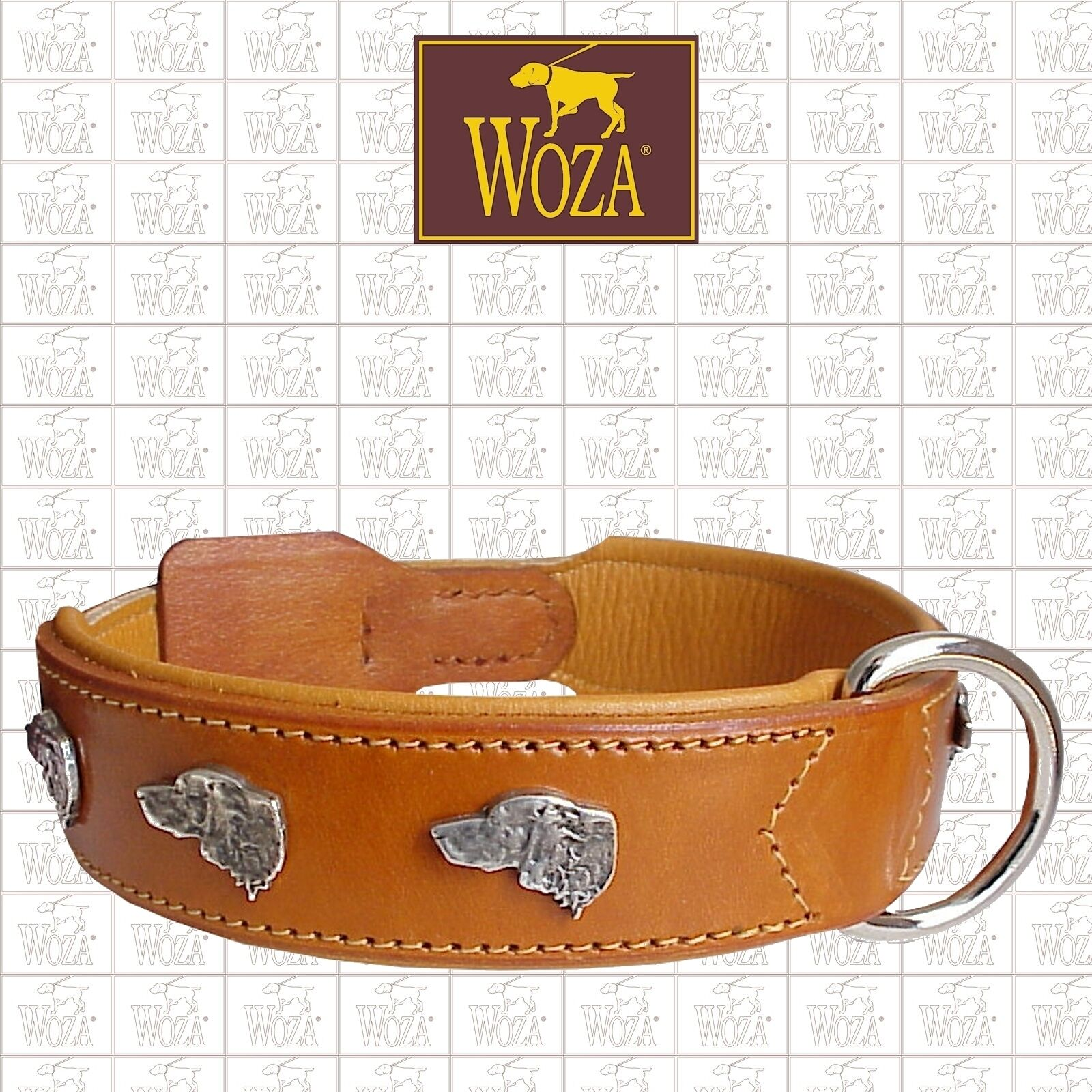 WOZA Premium Dog Collar Setter Full Leather Saddlery-sewn Padded Cow Napa C6299