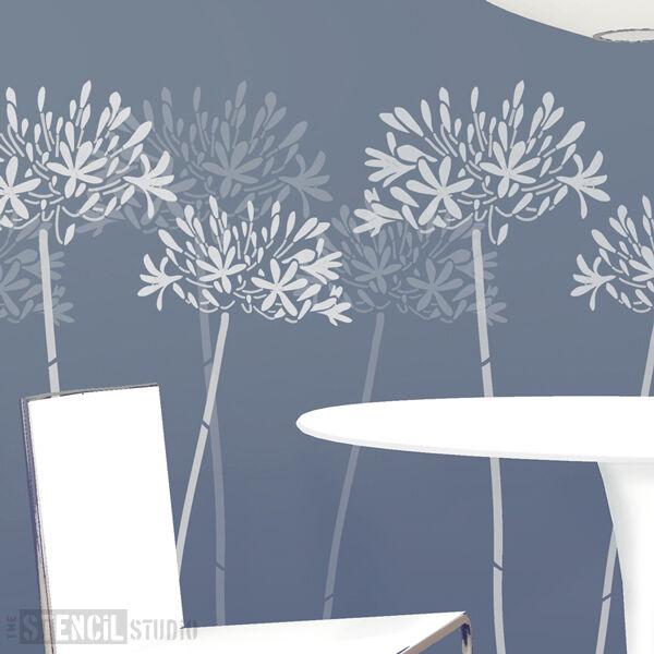 Agapanthus Fleur mur pochoir Home Decor Mur Grand Mur Decor Stencils du pochoir Studio 9d6fe5