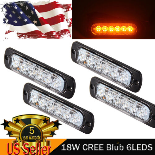 4PCS 18W CREE 6LED Amber Flash Emergency Hazard Warning Strobe Beacon Light Bar