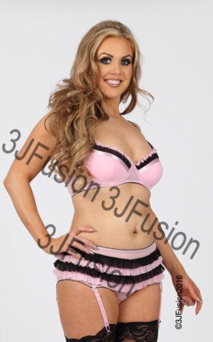 Femme rose//noir soutien-gorge /& shorts lingerie//sous-vêtements set cadeau st-valentin da
