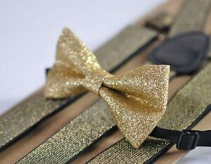 Gold shining bow tie Bowtie + Elastic suspenders Braces for Men / Boys / Baby