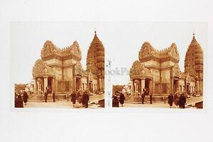 Paris-Exposition-coloniale-1931-Temple-d-Angkor-Photo-Stereo-verre-Positif