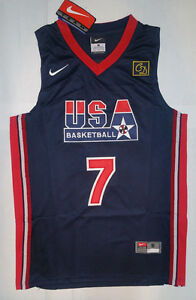 new arrival 7347c 9b66b Details about New with Tags - Larry Bird - Dream Team USA # 7 Dark Blue -  Men's Jersey NWT