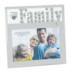 Glitzy-Mirrored-Glass-amp-Crystal-Photo-Frame-6-034-x-4-034-Family