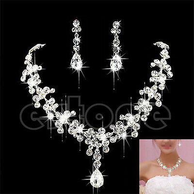 Cool Wedding Bridal Rhinestone Crystal Necklace Earring Plated Jewelry Set