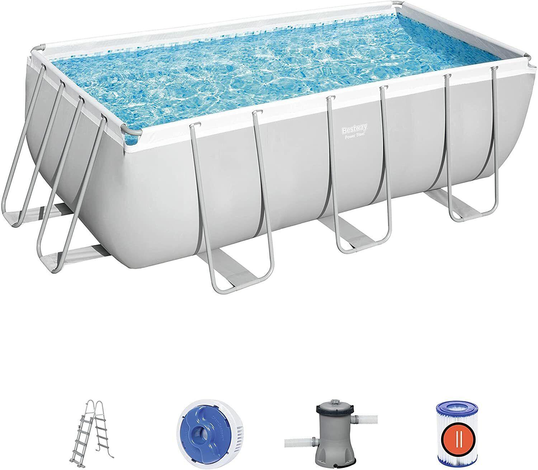 Bestway Power Steel Frame Swimming Pool Filter Pump Ladder 4.12m x 2.01m x1.22m