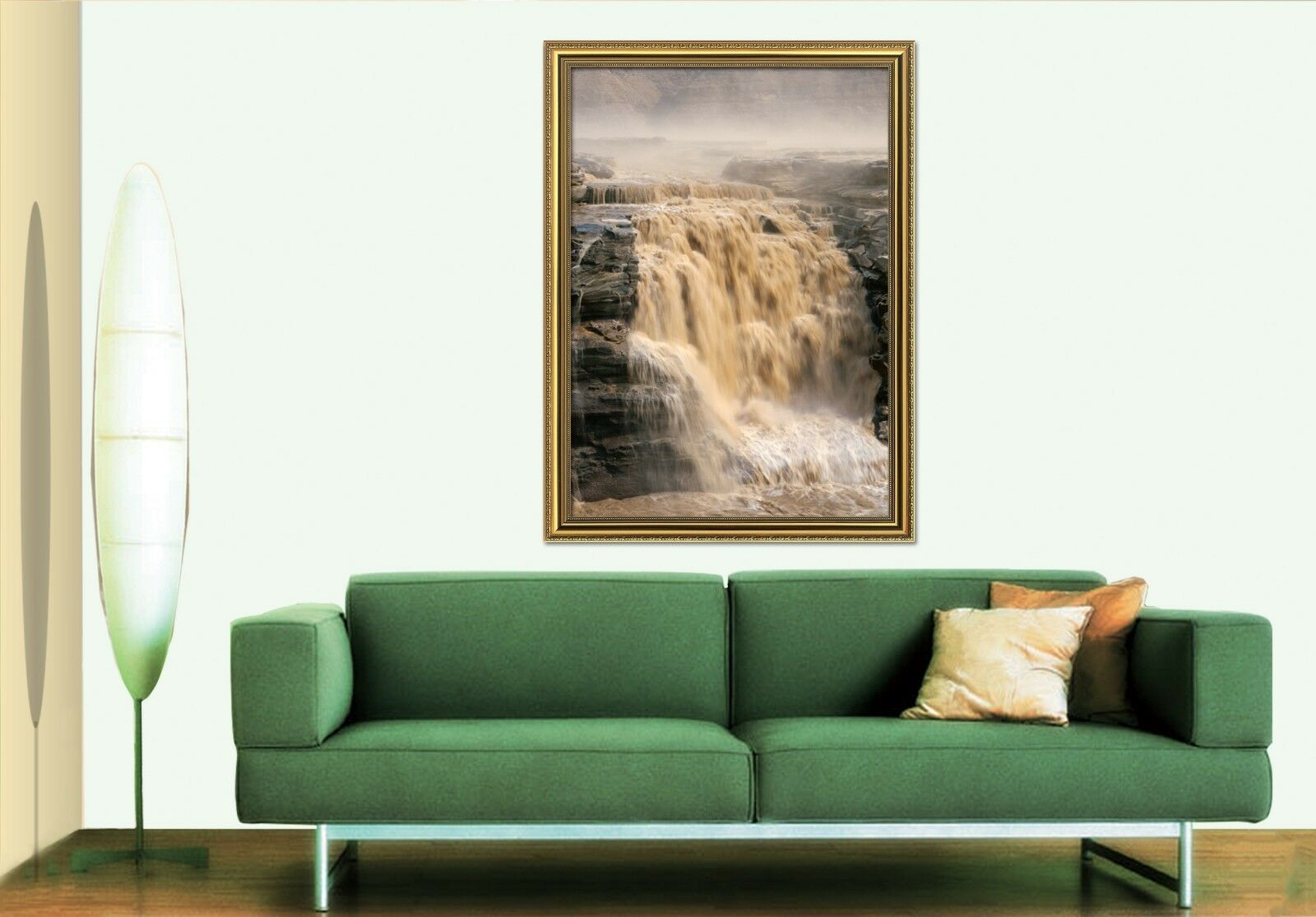 3D Waterfall Rock 557 Fake Framed Poster Home Decor Print Painting Unique Art