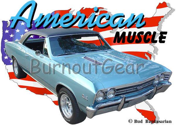 1967 Grün Chevy Chevelle SS Custom Hot Rod Diner T-Shirt 67 Muscle Car Tees