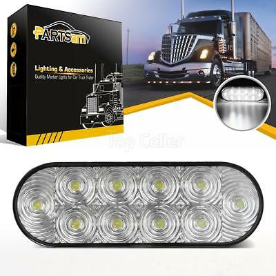 6 Oval Clear LED Reverse Back-up Light Flush Mount Trailer Truck 10