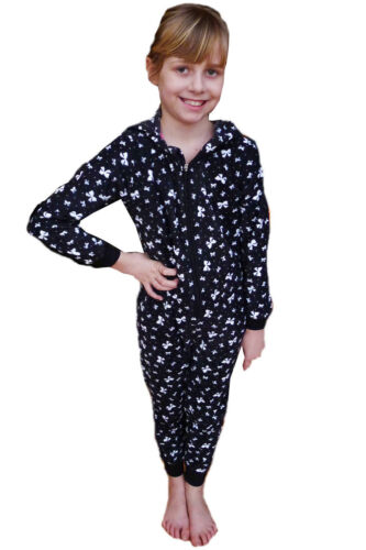 Nifty Kids Girls Bow All In One Childrens Patterned Sleepsuit Hooded Nightwear