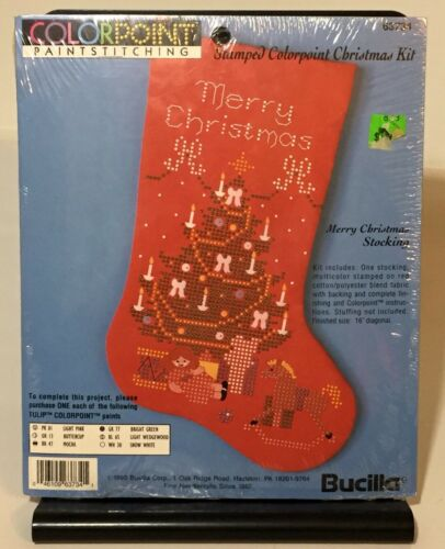 Vtg 1993 Bucilla Stamped Colorpoint Merry Christmas Red Stocking Craft Kit New