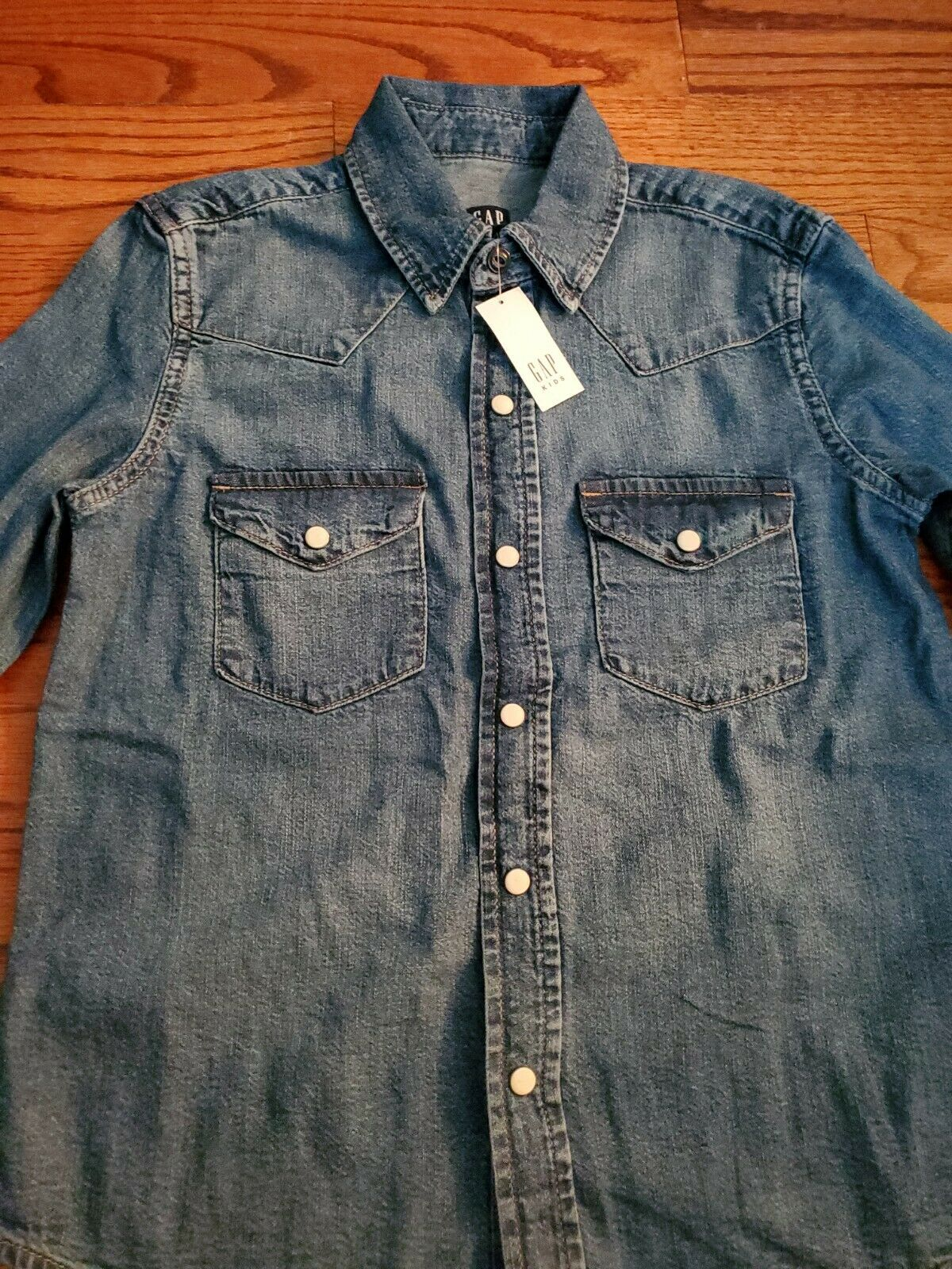 [Gap] Boy's Western Style Long Sleeves Snap Button Up Denim Shirts Size L