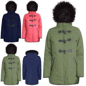 a79a032edb45 Womens Fur Hooded Toggle Ladies Parka Hoodie Jacket Duffle Coat Plus ...