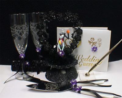 Nightmare Before Christmas Wedding.Nightmare Before Christmas Wedding Cake Topper Lot Glasses