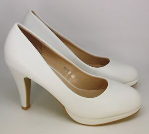 93f9e7e5bc5d37 PLATEAU HIGH HEELS PUMPS IN WEISS CREME HIGH HEELS LEDER OPTIK -- (A ...