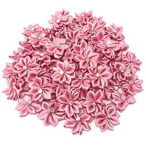 Pastel-Pink-Satin-Ribbon-Flowers-amp-Rhinestone-Diamante-Centre-25mm-Craft-Flower