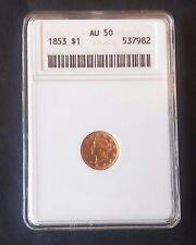 1853 , 1 Dollar , Gold , ANACS , AU 50 ,  ((132))