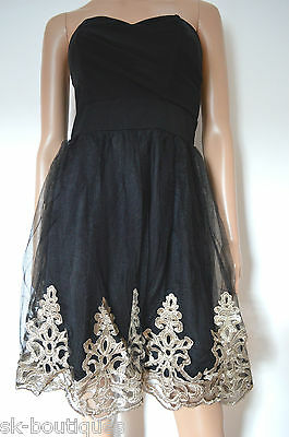 vast selection 100% top quality dirt cheap Baroque Black Evita Lace Skater Lace Gold Embroidery Dress bodycon Wrap  Swing | eBay