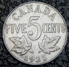 1925 OLD CANADIAN COIN - 5 CENTS - George V - Beautiful Detail - NCC