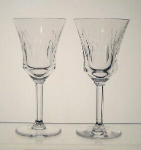 VAL-ST-LAMBERT-CRYSTAL-Wine-Glasses-6-034-Hex-Stem-SET-of-2-BIRKS-CRYSTAL-CP1248