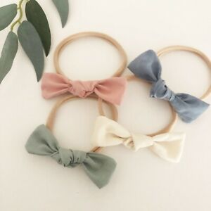 4-x-Bow-Headband-Packs-Sage-Pink-Cream-Ivory-Blue-Baby-Girl-Newborn-Nylon-Green