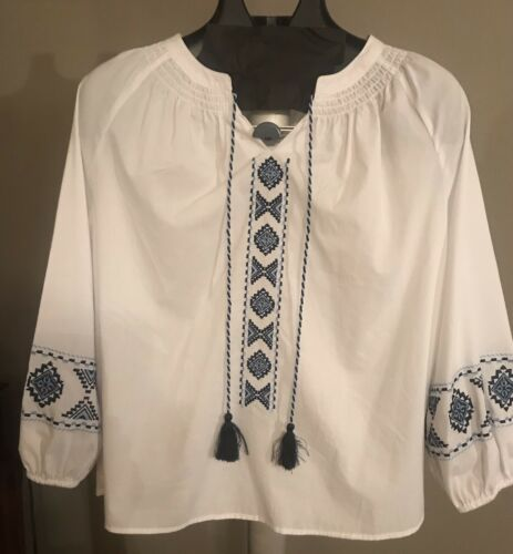Artsy Boho Cobalt Blue &White Embroidered Tunic To