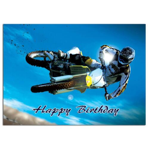 651; Motorcycle motorbike off road Personalised greeting card best special great
