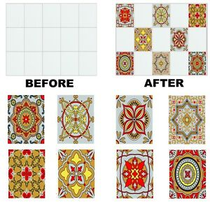 """Mosaic Pattern Stickers Transfers For 150mm x 150mm /& 6/"""" inch Square Tiles GT04"""