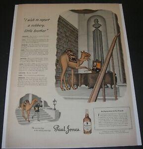 Print Ad 1943 Paul Jones Whiskey Distillery ART Glen Fleischmann Camel/Librarian
