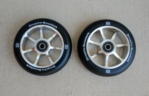w//ABEC-11 Bearings Pair of 110mm Black Metal Core Scooter Wheels 2 Wheels