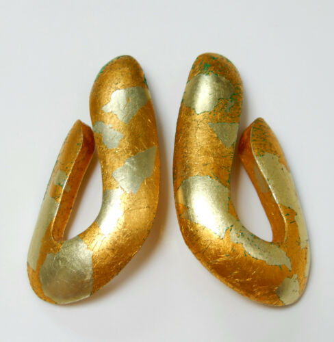 Vintage Gold Leaf Lucite Modernist Runway Clip on… - image 1