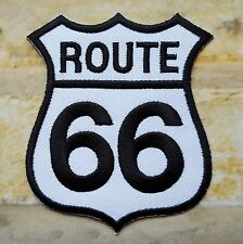 Ecusson patch thermocollant brodé route 66 USA biker- fond blanc