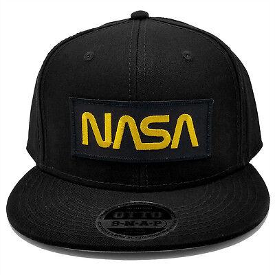 5c9561510 Nasa Gold Letter Black Military Patch Flat Bill Snapback Baseball Cap Hat  by PT   eBay