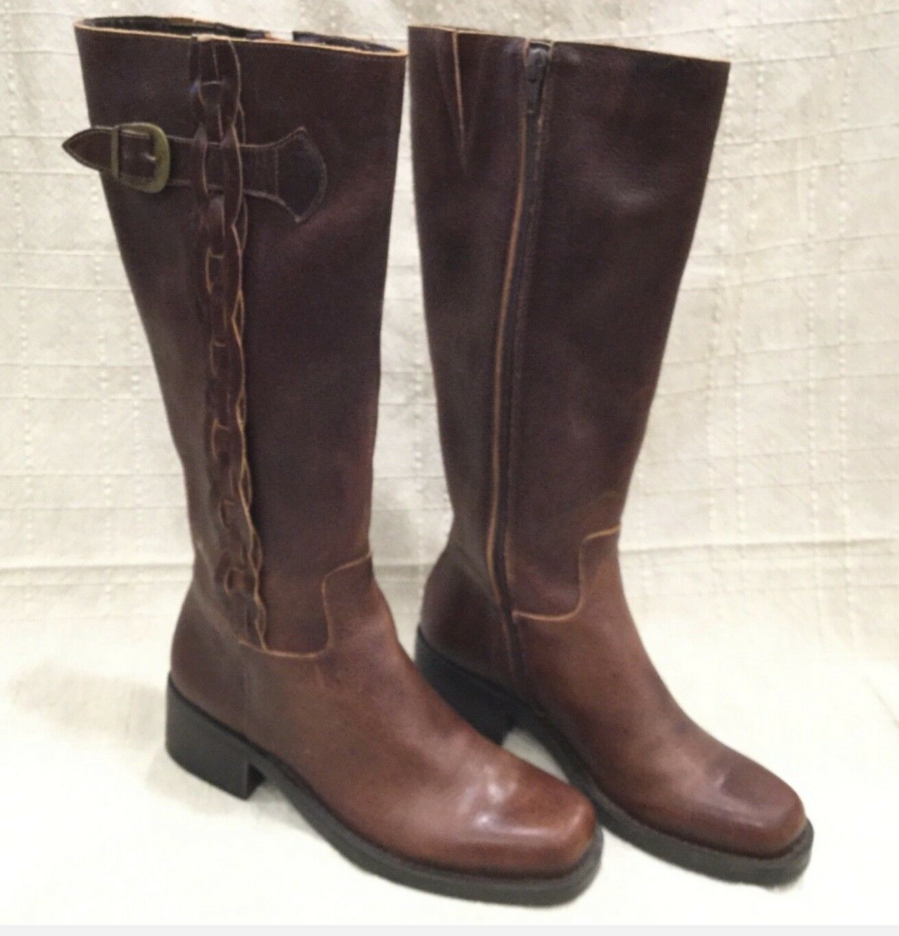 New NICOLE Vtg Brown Leather RIDING  Braided Braided Braided Accent Boots 6 M Boho western 0dc4a6