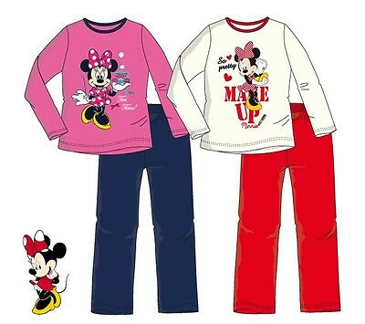 Minnie Mouse Schlafanzug 98 104 116 128 Mädchen Pyjama lang Nachthemd Disney