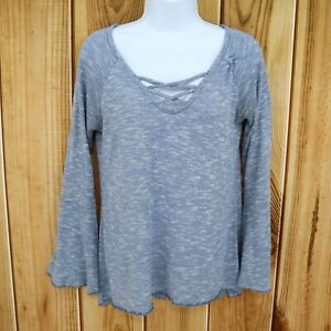 Massini-Long-Sleeve-Knit-Top-Womens-Sz-S-Light-Blue-Heathered-Look-Bell-Sleeve