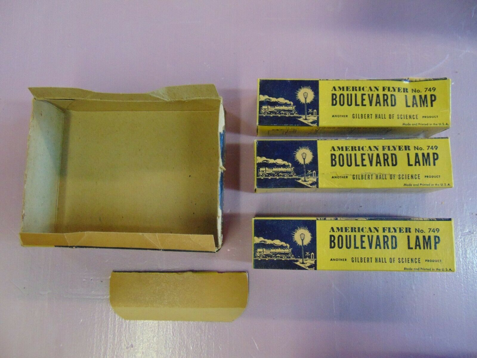 American Flyer No. 749 Boulevard Lamp Empty Boxes,  (P4-P7) Condition